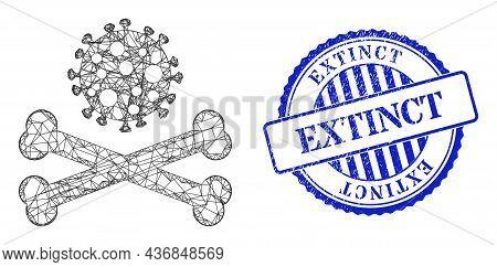Vector Net Death Virus Model, And Extinct Blue Rosette Corroded Stamp. Crossed Frame Net Symbol Desi