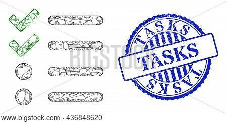 Vector Network Check List Frame, And Tasks Blue Rosette Dirty Seal Print. Linear Frame Net Symbol Cr