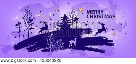Christmas Abstract Forest Background, Vector Winter X-mas Landscape Silhouette, Pine Tree Outline, D