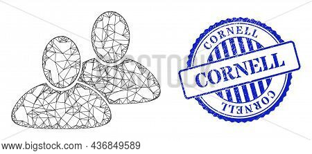 Vector Crossing Mesh Customers Wireframe, And Cornell Blue Rosette Grunge Seal Imitation. Crossed Fr