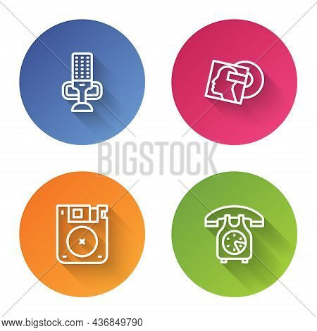 Set Line Microphone, Vinyl Disk, Floppy And Telephone Handset. Color Circle Button. Vector