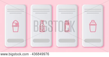 Set Line Glass Of Beer, Beer Bottle, Cocktail Bloody Mary And Shaker. White Rectangle Button. Vector