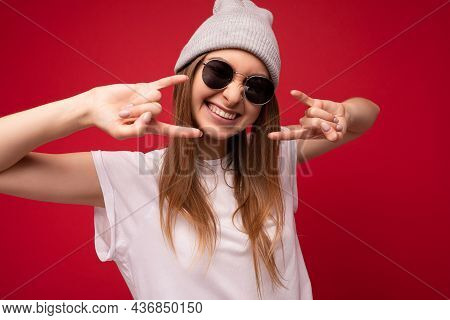 Closeup Of Young Emotional Positive Happy Smiling Attractive Dark Blonde Woman With Sincere Emotions