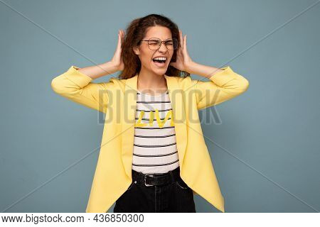 Photo Of Young Emotional Angry Attractive Brunette Curly Woman With Sincere Emotions Wearing Stylish