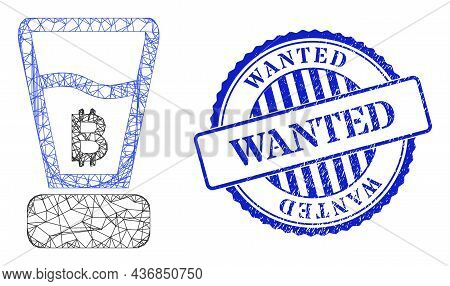 Vector Net Mesh Bitcoin Mixer Frame, And Wanted Blue Rosette Rubber Seal Print. Crossed Frame Net Im