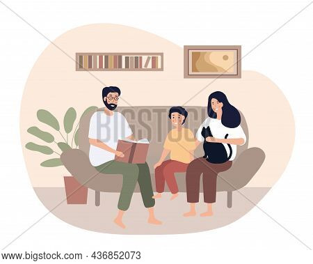 Happy Family Time. Mother And Father Spend Evening With Their Son. Parents And Kid Spent Leisure Tim