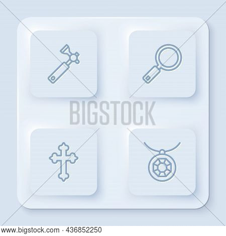 Set Line Jewelers Lupe, Magnifying Glass, Christian Cross And Pendant On Necklace. White Square Butt