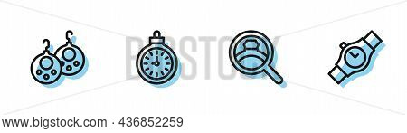 Set Line Diamond Engagement Ring, Earrings, Pocket Watch And Wrist Icon. Vector
