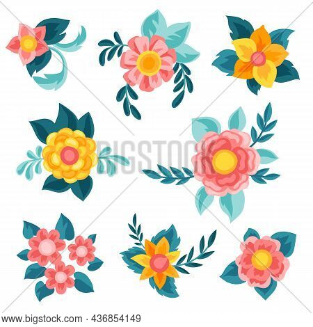 Set Of Pretty Flowers. Beautiful Decorative Natural Buds And Leaves.