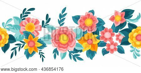 Seamless Pattern With Pretty Flowers. Beautiful Decorative Natural Buds And Leaves.