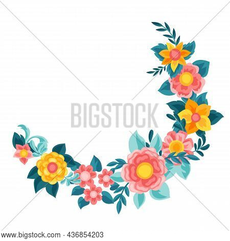 Frame With Pretty Flowers. Beautiful Decorative Natural Buds And Leaves