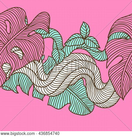 Seamless Pattern With Palm Leaves And Twisted Wild Liana Branch. Jungle Vines Plant. Decorative Trop