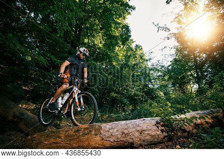 Mountain Biker Riding On Bike In Nature