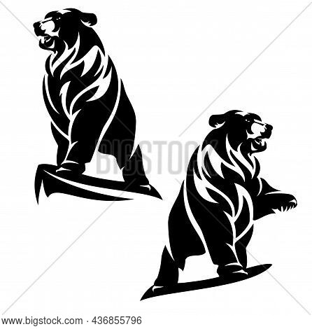 Majestic Bear Standing On Cliff Top With One Paw Up In The Air - Black And White Vector Outline Of W