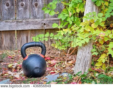 heavy iron kettlebell in a backyard - outdoor against rustic wooden gate, home fitness concept