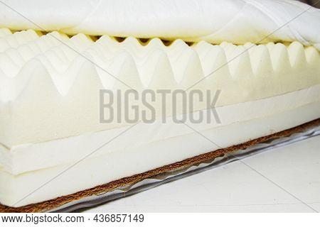White Sponge Mattress Material Close-up. Inside The Mattress.
