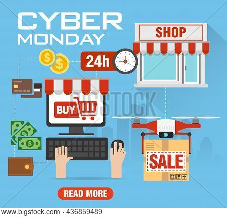 Cyber Monday Sale Concept Flat Design. Cyber Monday Promotion Poster, Flyer, Banner, Website. Cyber