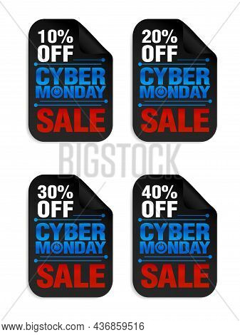 Set Of Cyber Monday Power Sale Stickers. Cyber Monday Sale 10%, 20%, 30%, 40% Off. Vector Illustrati