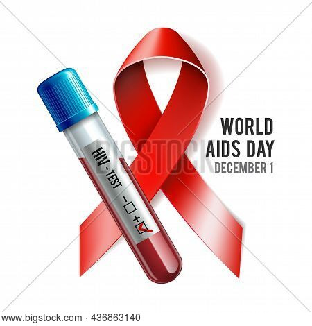 Hiv Test Tube With Blood And Red Ribbon As A Symbol Of World Aids Day.