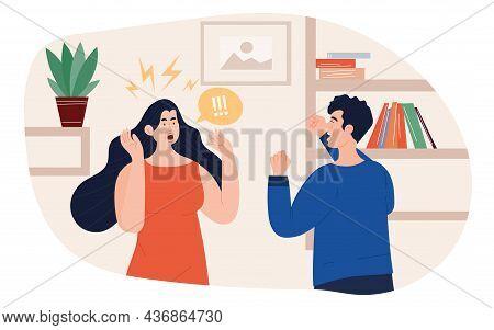 Domestic Violence And Abuse Concept. Husband Yells At His Wife, Man Beats Woman. Family Quarrels, Sc