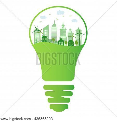 Green City And Environment Conservation. Silhouette Ecological City With Renewable Energy Sources. G