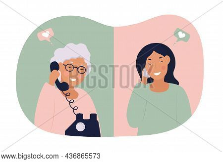 Women Communicate By Phone. Mom Communicates With Her Daughter. Grandma Calls Support. Family Distan