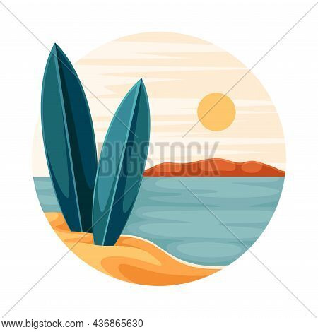 Tropical Landscape With Shining Sun And Sandy Beach With Surfboard In Circle Closeup Vector Illustra