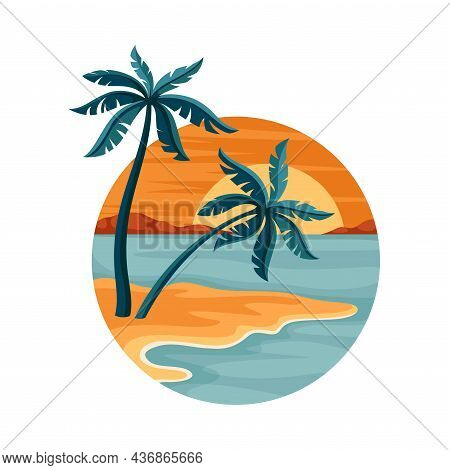 Tropical Landscape With Sundown And Sandy Beach With Palm Tree In Circle Closeup Vector Illustration