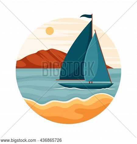 Tropical Landscape With Sailing Boat And Sandy Beach In Circle Closeup Vector Illustration