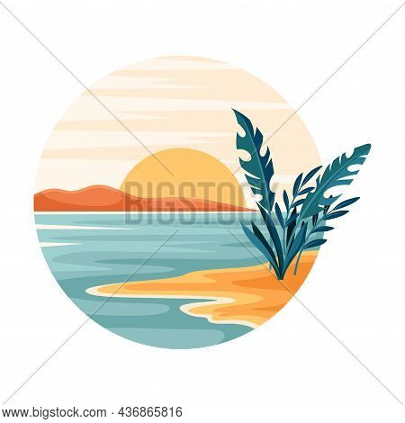 Tropical Landscape With Rising Sun And Sandy Beach With Flora In Circle Closeup Vector Illustration
