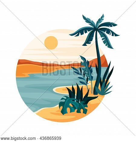 Tropical Landscape With Shining Sun And Sandy Beach With Palm Tree In Circle Closeup Vector Illustra