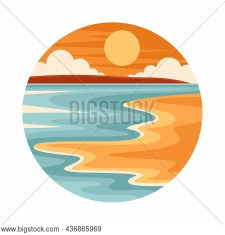 Tropical Landscape With Shining Sun And Sandy Beach In Circle Closeup Vector Illustration