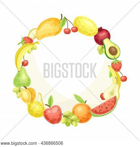 Bright Round Fruit Frame With Ripe And Fresh Garden Cultivar Closeup Vector Illustration