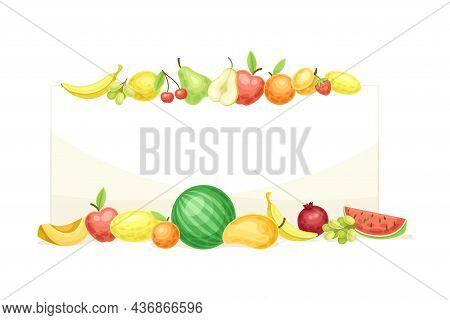 Bright Rectangular Fruit Frame With Ripe And Fresh Garden Cultivar Closeup Vector Illustration