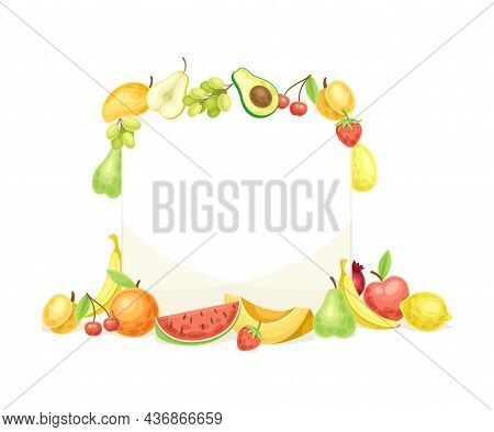 Bright Square Fruit Frame With Ripe And Fresh Garden Cultivar Closeup Vector Illustration