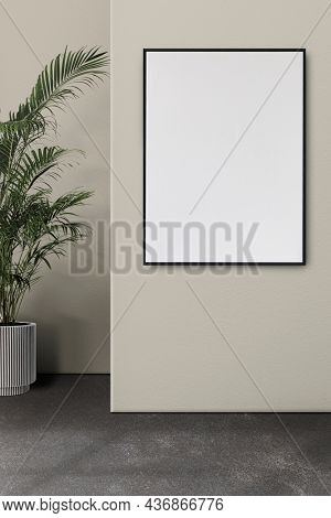 Empty industrial room interior design with blank frame