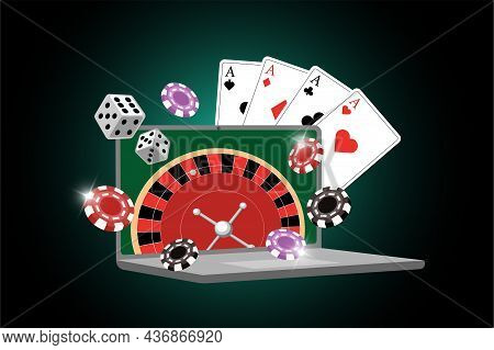 Online Casino Banner With Roulette On Laptop Screen, Dice, Poker Cards And Chips. Vector Gambling Po