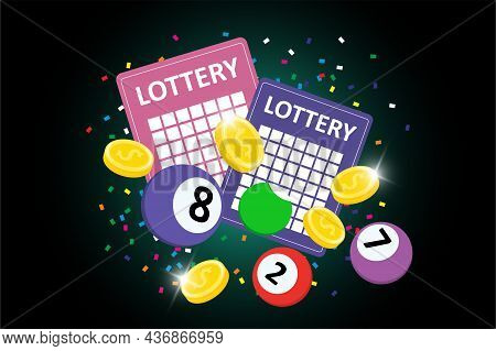 Bingo Lottery Sign Banner On Dark Background. Colorful Balls, Lotto Tickets, Confetti And Jackpot Wi
