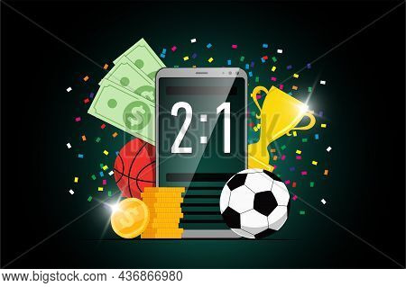 Online Sport Betting Mobile App Banner Design Template With Statistics Scoreboard On Smartphone Scre