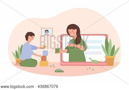 Online Babysitting Concept. Nanny Takes Care Of Baby On Internet. Girl Plays With Child With Toys On