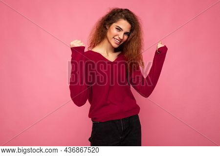 Young Emotional Happy Positive Beautiful Brunette Curly Woman With Sincere Emotions Wearing Casual P