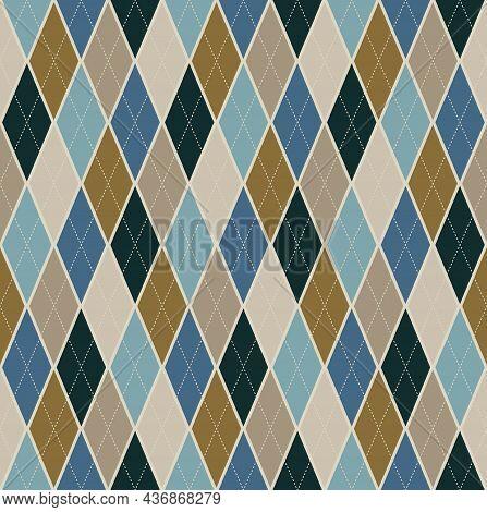 Seamless Background Argyle Pattern. Blue Brown Color Tone Tartan Plaid. Texture Design For Apparel,