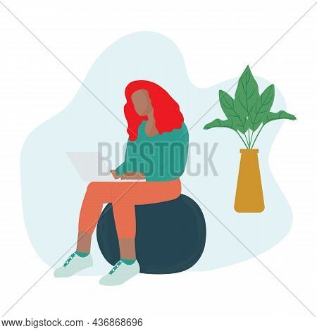 Black Woman Sitting On Fitness Ball While Using Laptop. Freelancers Working On Laptops And Computers