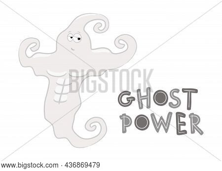 Ghost Power. Cartoon Muscular Ghost From The Gym. A Terrible Strong Athlete. Vector Illustration On