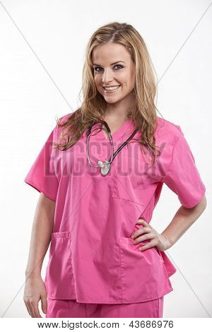 Friendly Attractive Blond Caucasian Nurse In Her Twenties