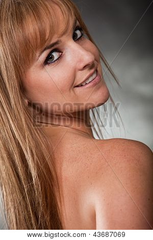 Pretty Attractive Blond Caucasian Fashion Woman In Her Twenties
