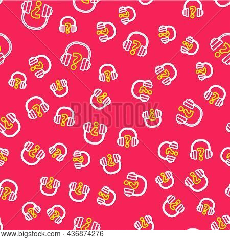 Line Headphones Icon Isolated Seamless Pattern On Red Background. Support Customer Service, Hotline,