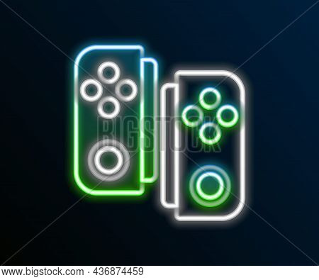 Glowing Neon Line Gamepad Icon Isolated On Black Background. Game Controller. Colorful Outline Conce