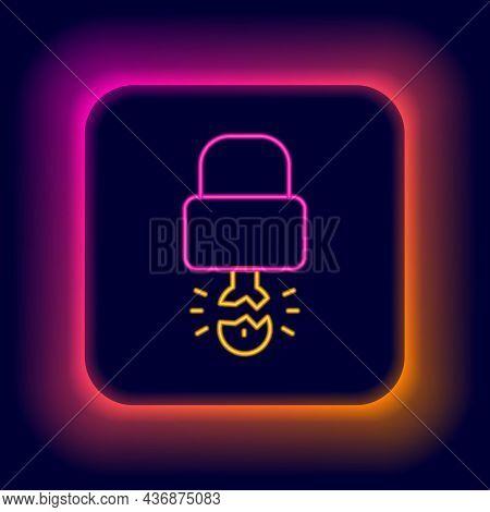 Glowing Neon Line Key Broke Inside Of Padlock Icon Isolated On Black Background. Padlock Sign. Secur