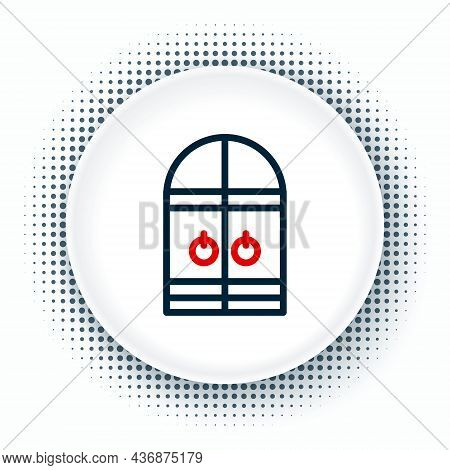 Line Medieval Castle Gate Icon Isolated On White Background. Medieval Fortress. Protection From Enem